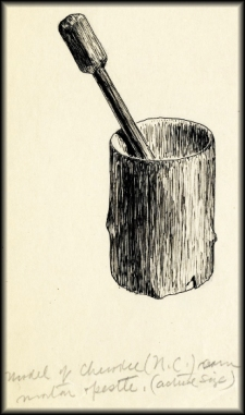 From the archives of the American Philosophical Society, ink drawing of a Cherokee mortar and pestle.