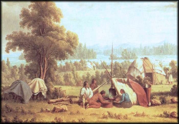 Paul Kane painting of an Ojibwa encampment.