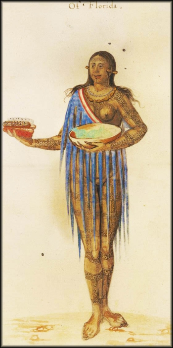John White's watercolor, in Thomas Hariot's book, of a woman holding maize.