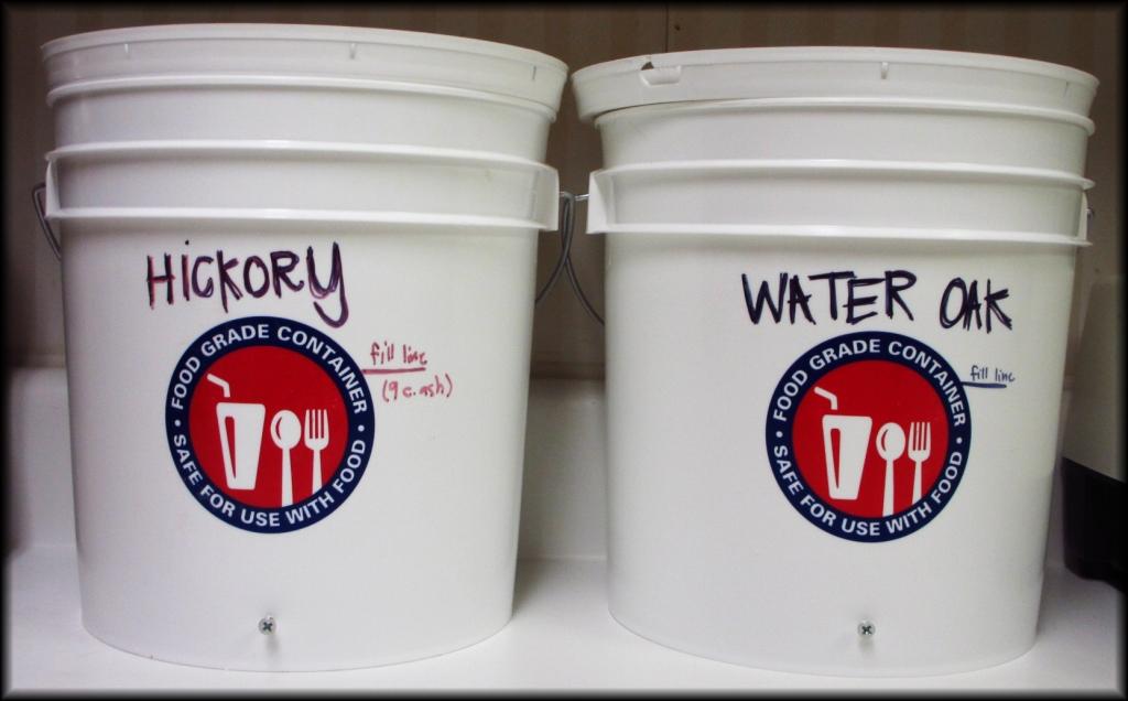 Two buckets I used to make woodash lye.