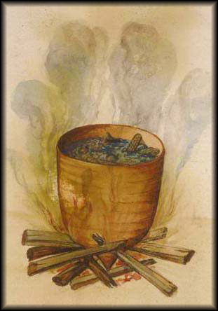 John White watercolor of a pot of hominy cooking over an open fire.