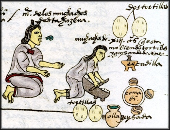 A page from the Codex Mendoza. A mother teaching her daughter how to make tortillas.