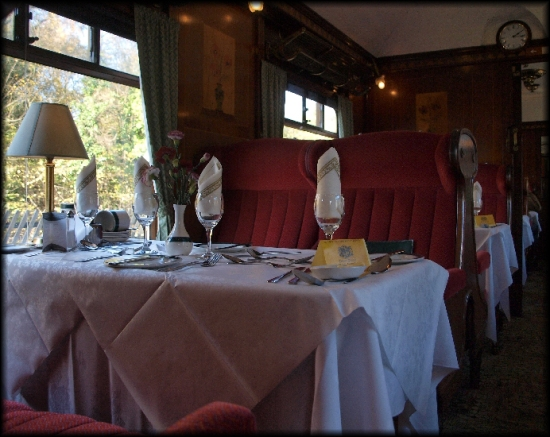 Interior of a Pullman dining car.