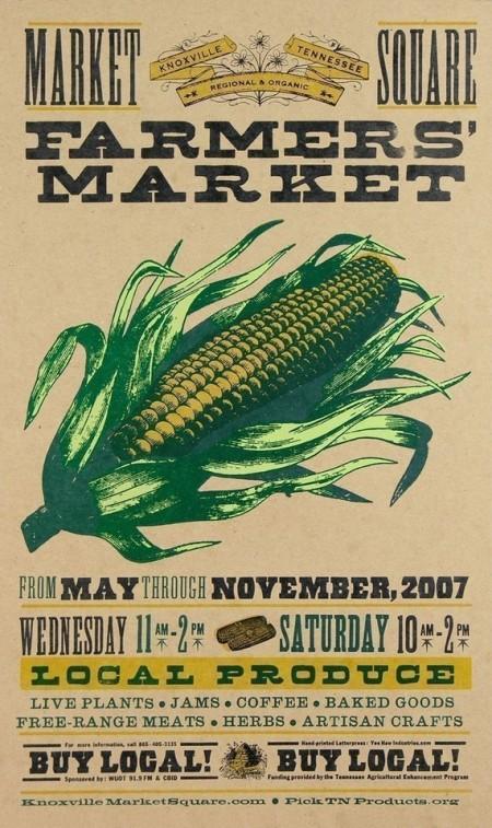 Yee-Haw Industrial Letterpress Farmer's Market poster.